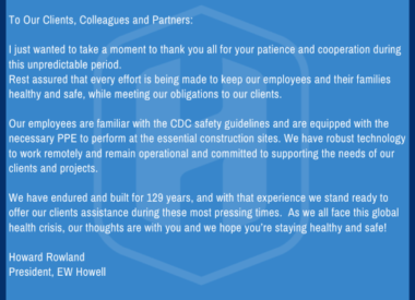 EW HOWELL'S RESPONSE TO COVID-19