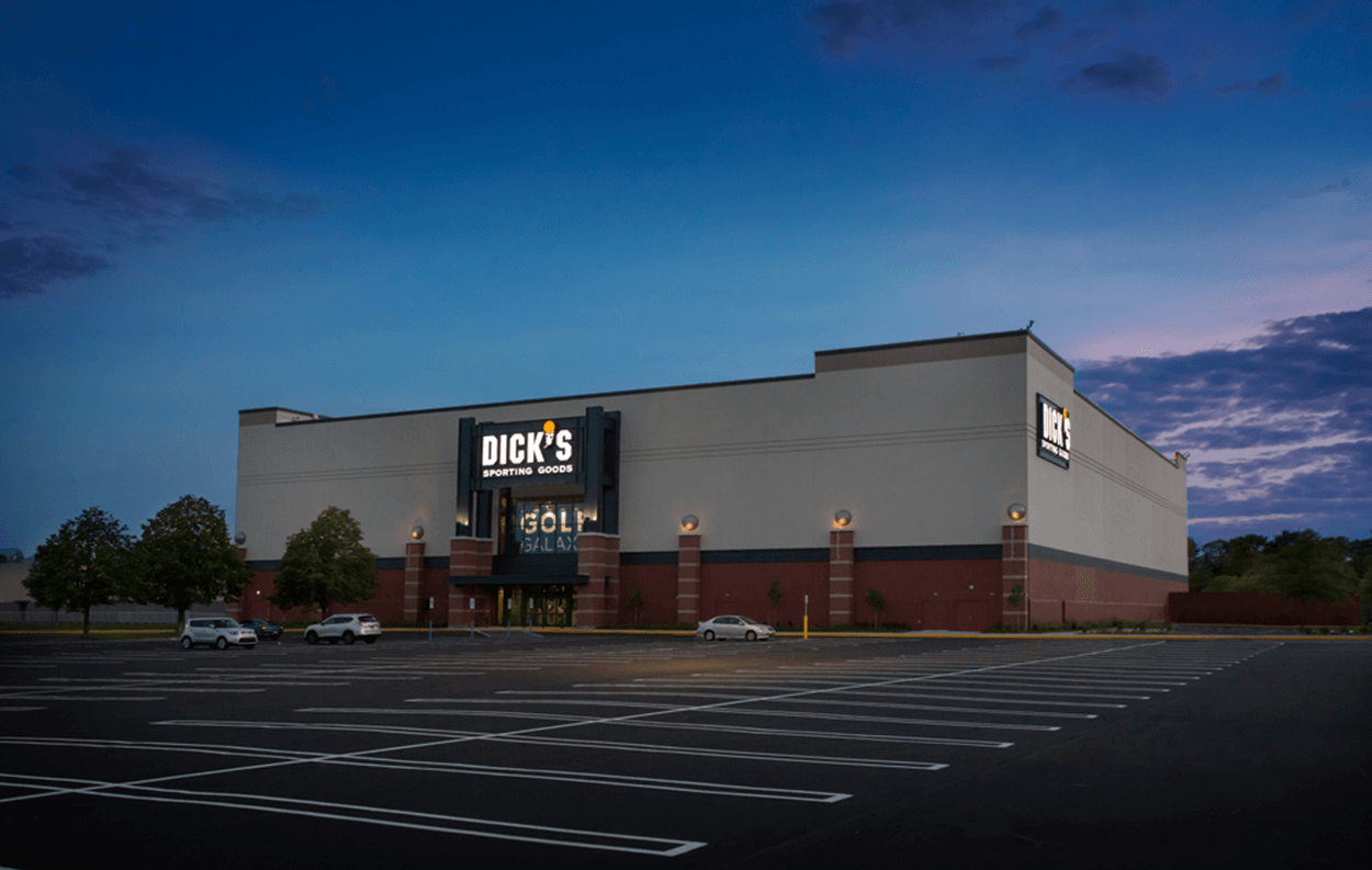 Exterior night shot of Dick's Sporting Goods at South Shore Mall