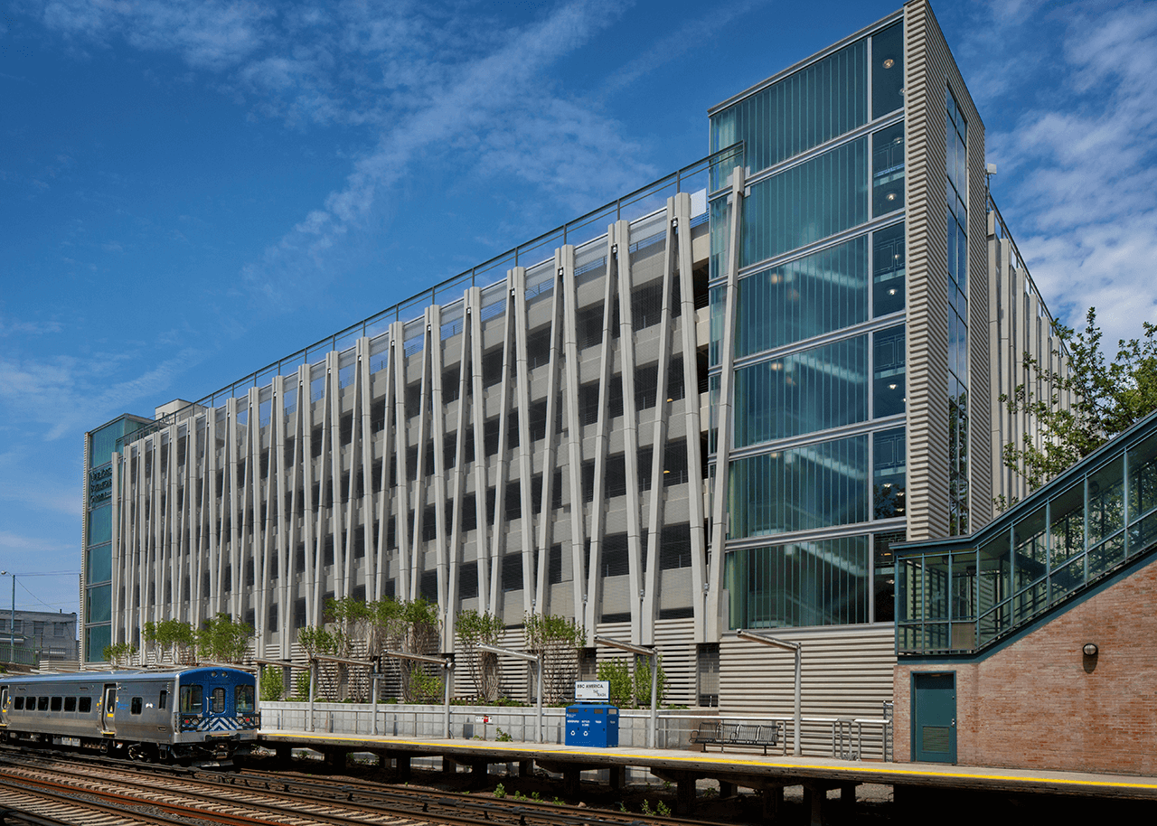 Completed construction of New York Botanical Garden Parking Garage