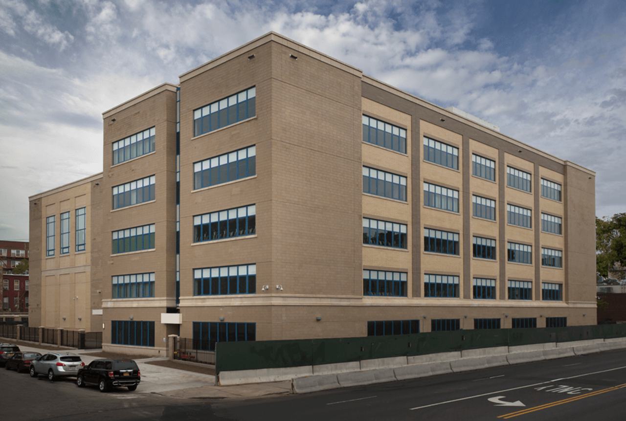 Exterior shot of the completed construction of New York City School Construction Authority project