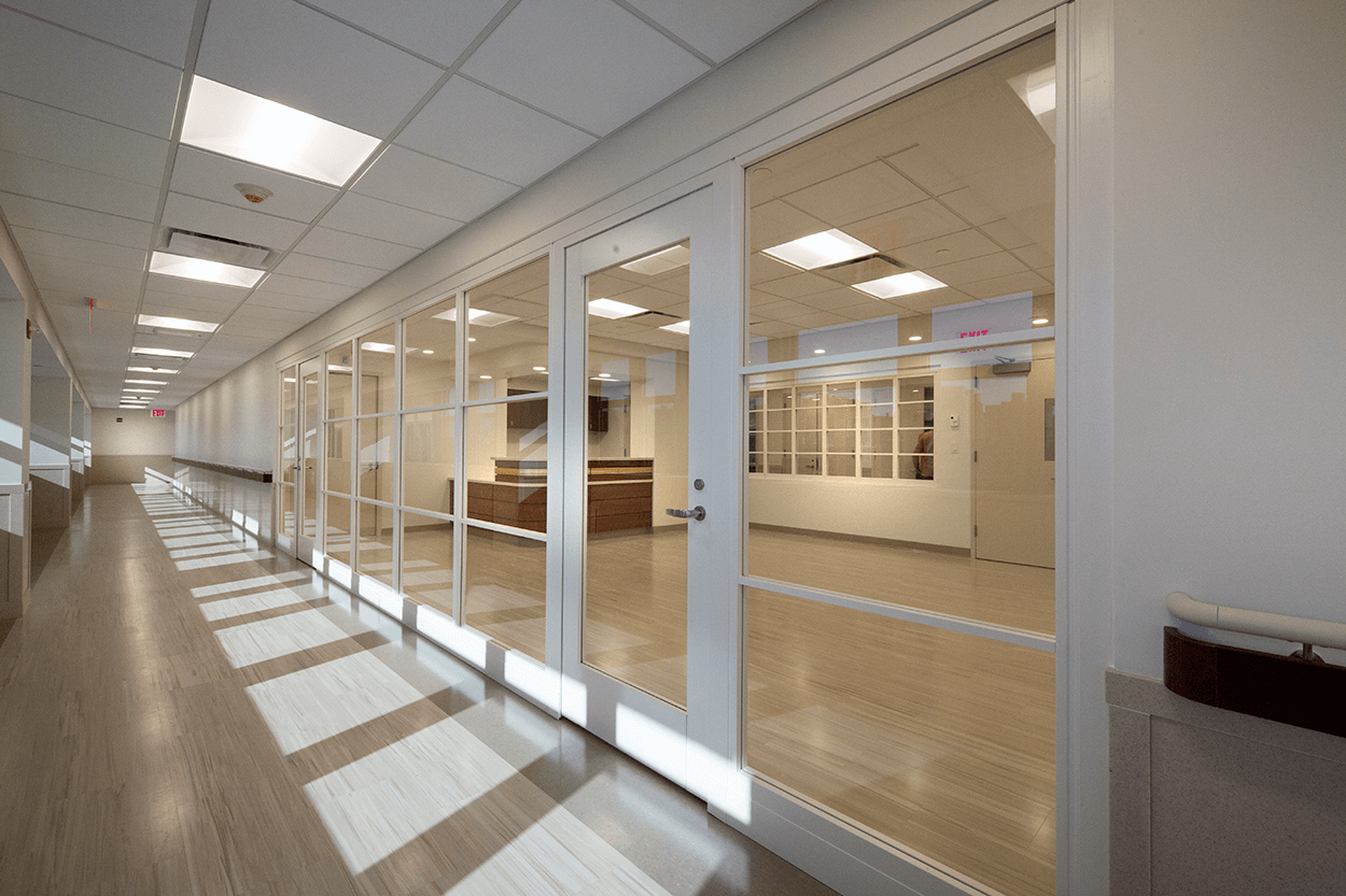 Recently Completed construction of a hall way at Coney Island Hospital