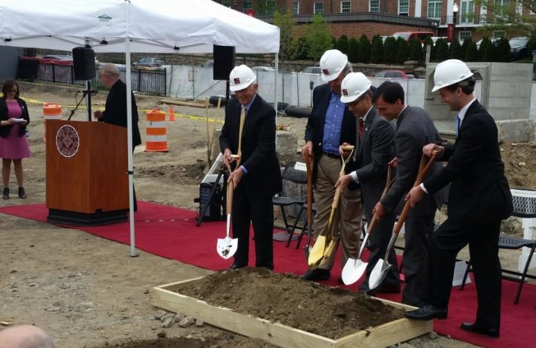 5 Men Breakground For The Construction Of Iona College's New Residence Hall